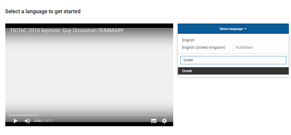 select a language to translate into on youtube