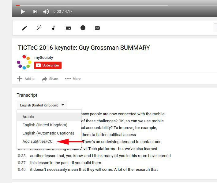 where to find the 'add transcript' menu on youtube