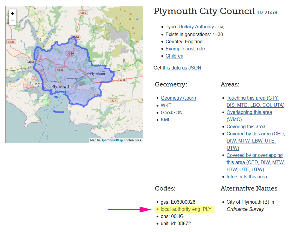 MapIt page showing the local authority codes