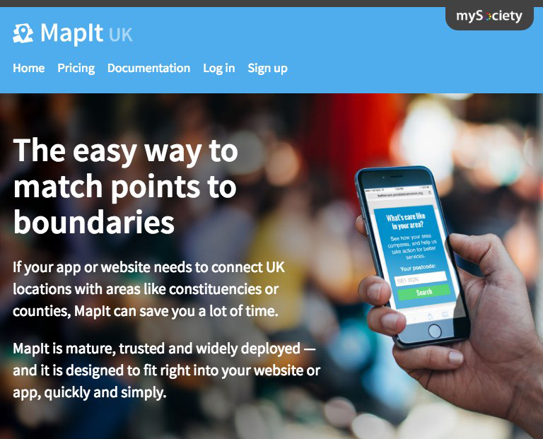 New MapIt homepage from mySociety