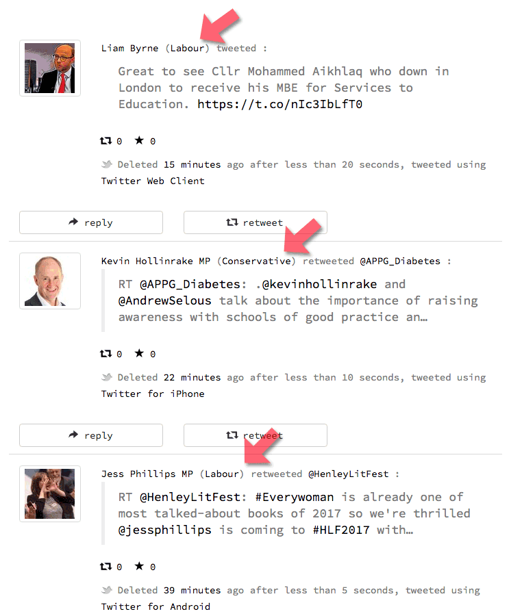 A tiny detail...  party affiliation (arrowed) added to @deletedbyMPs tweets [screenshot of https://politwoops.co.uk/]