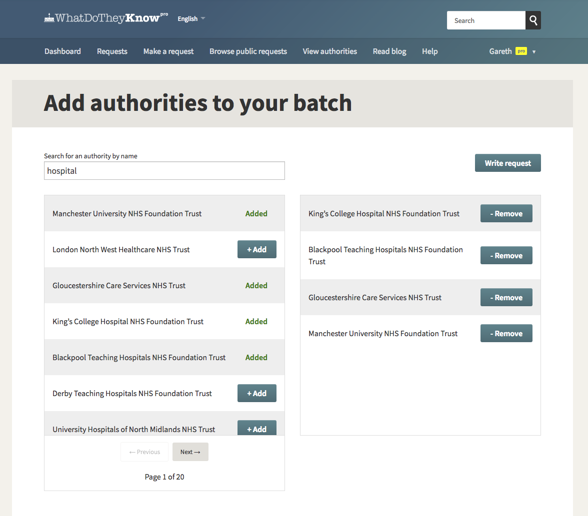 Add authorities to your WhatDoTheyKnow Pro batch request