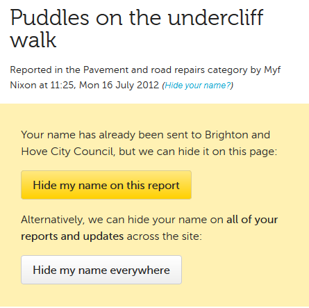 report of puddles on the undercliff walk on FixMyStreet