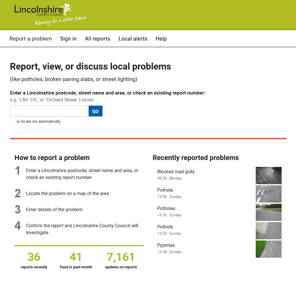 Fault Reporting Software Mysociety