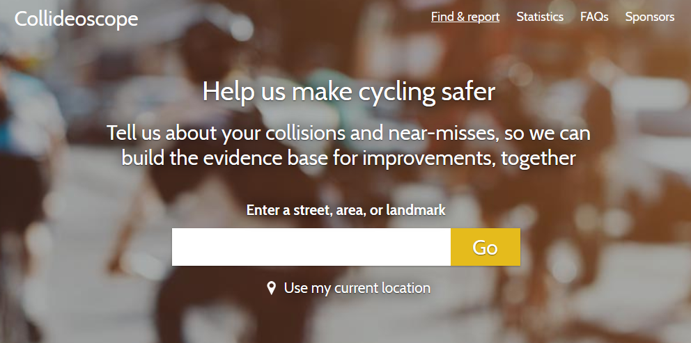 "New Collideoscope homepage showing its strapline: ""Help Us make Cycling Safer: Tell us about your collisions and near misses so we can build the evidence base for improvements, together"""