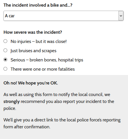 Advising the user to make a report to the police