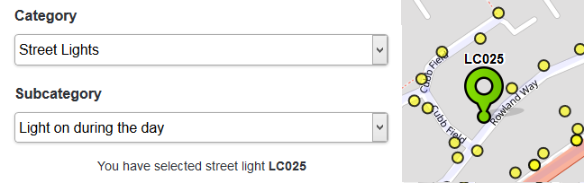 An identified streetlight on FixMyStreet