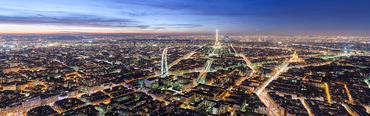 Paris by night via https://en.wikipedia.org/wiki/File:Paris_Night.jpg