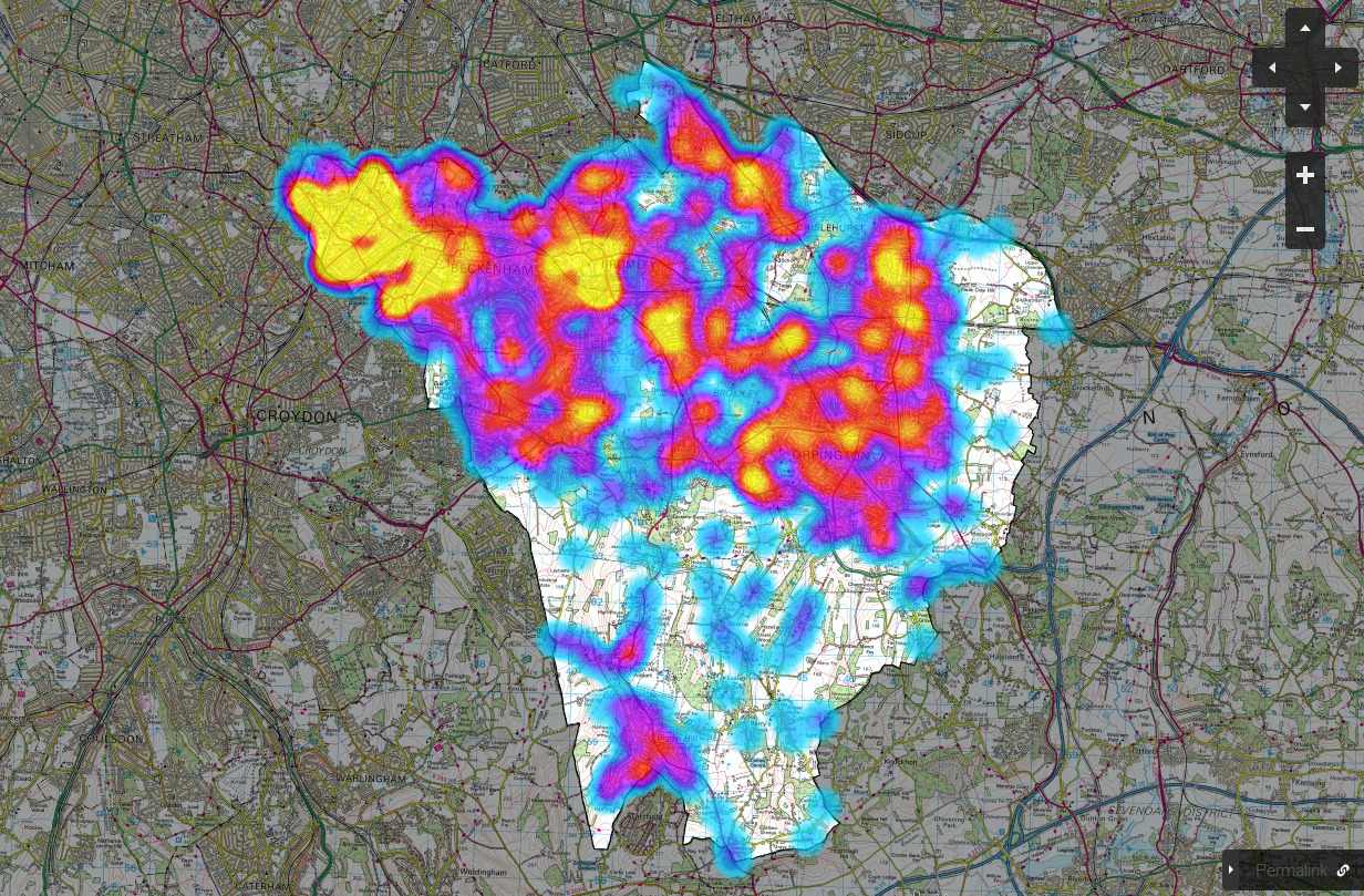 Bromley FixMyStreet issues plotted on a heatmap