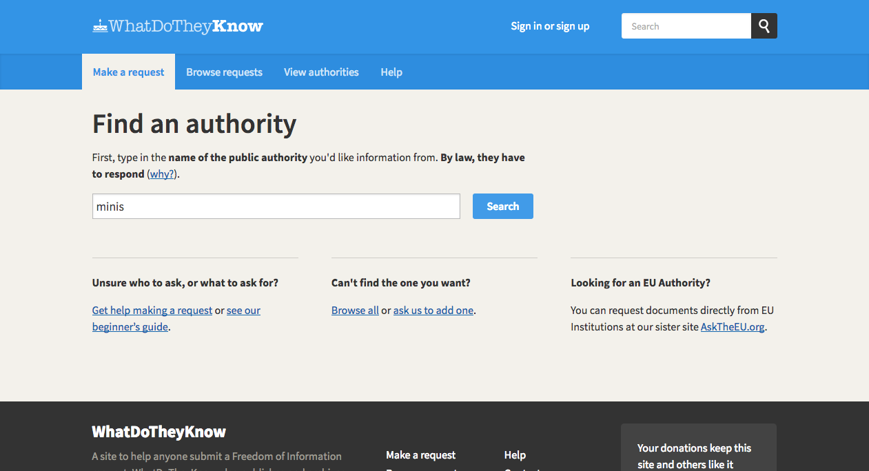 Find authority page after new design