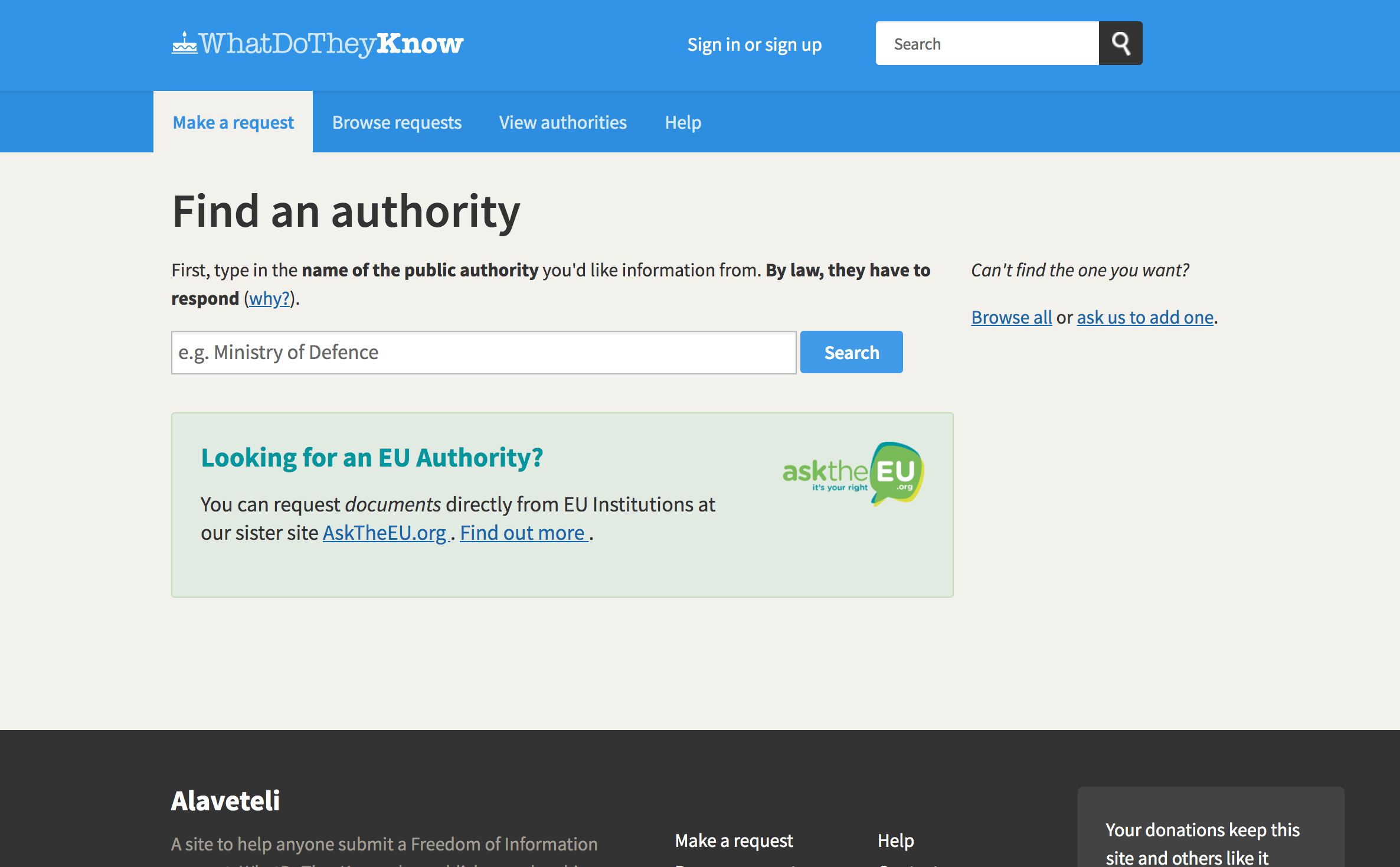 Find authority page before new design