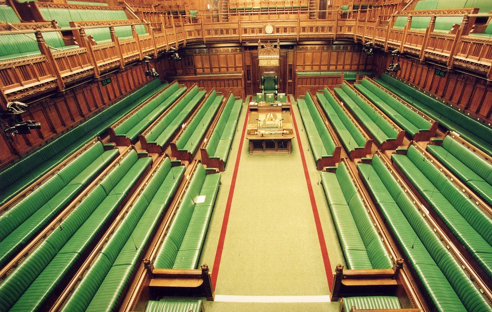 An empty House of Commons Chamber - elevated view