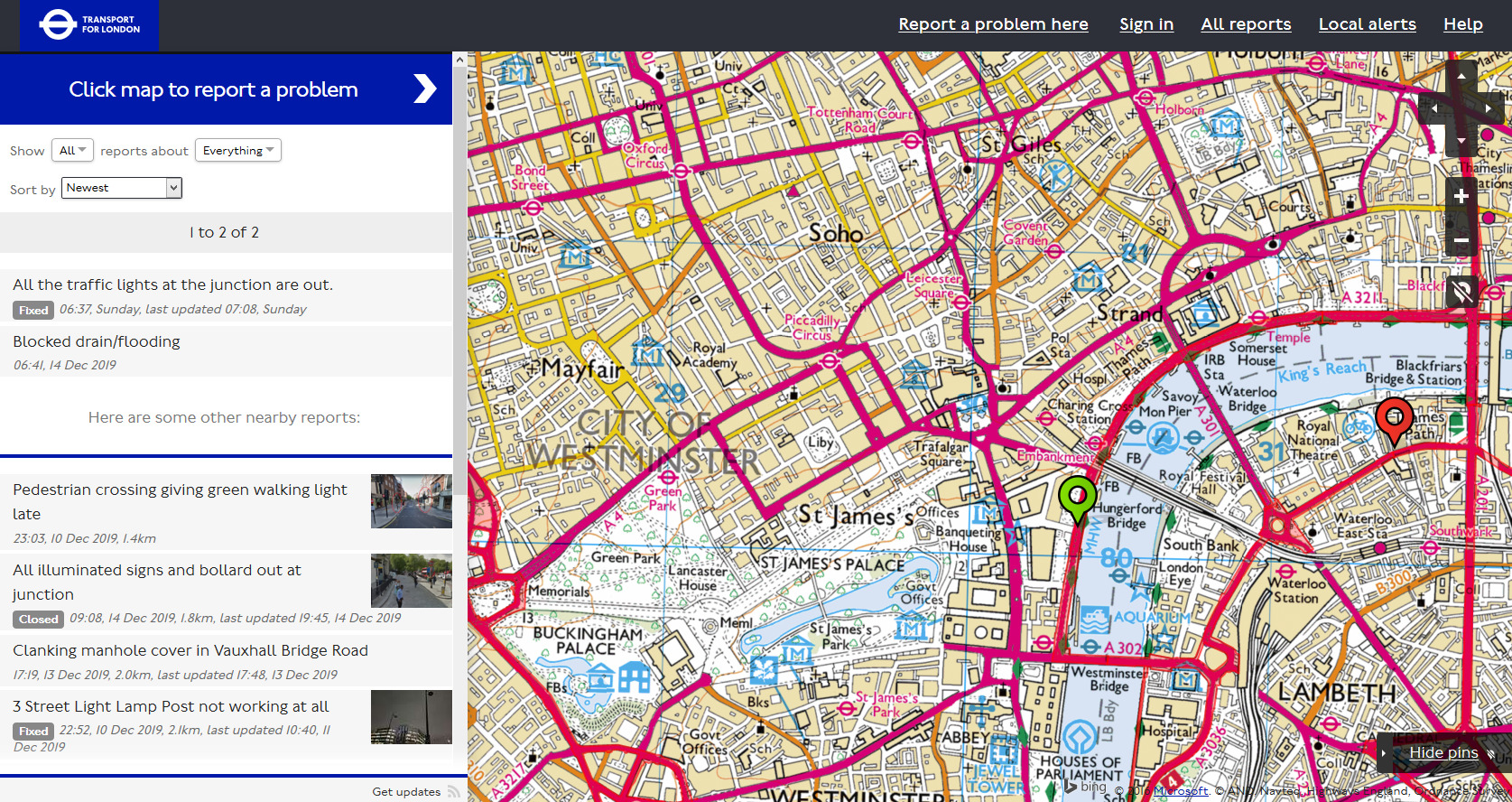 FixMyStreet interface for TfL