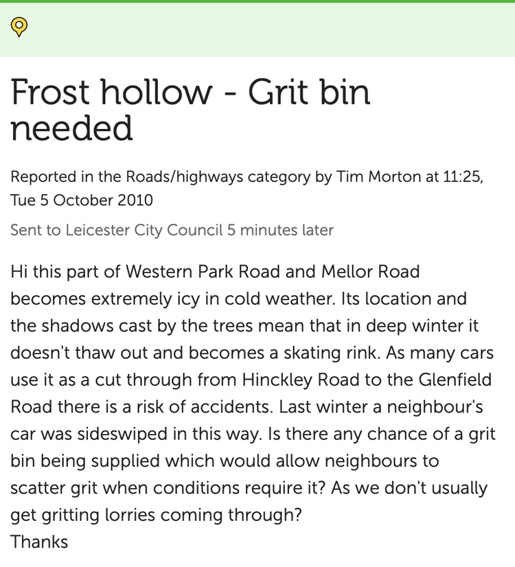 Grit bin request on FixMyStreet