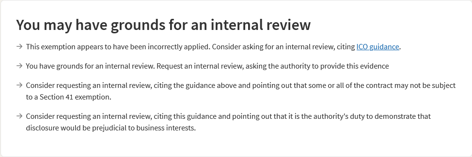 Image saying 'you may have grounds for an internal review' followed by four sentences saying much the same, on WhatDoTheyKnow