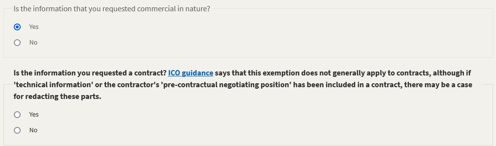 questions about the FOI request, including 'is the information that you requested commercial in nature?' and 'is the information yuo requested a contract?' from WhatDoTheyKnow