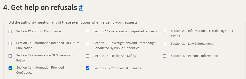 Checkboxes on WHatDoTheyKnow asking the user to confirm which exemption their request has ben refused under