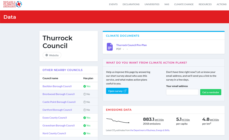 Climate Action Plans Explorer inner page (Thurrock)