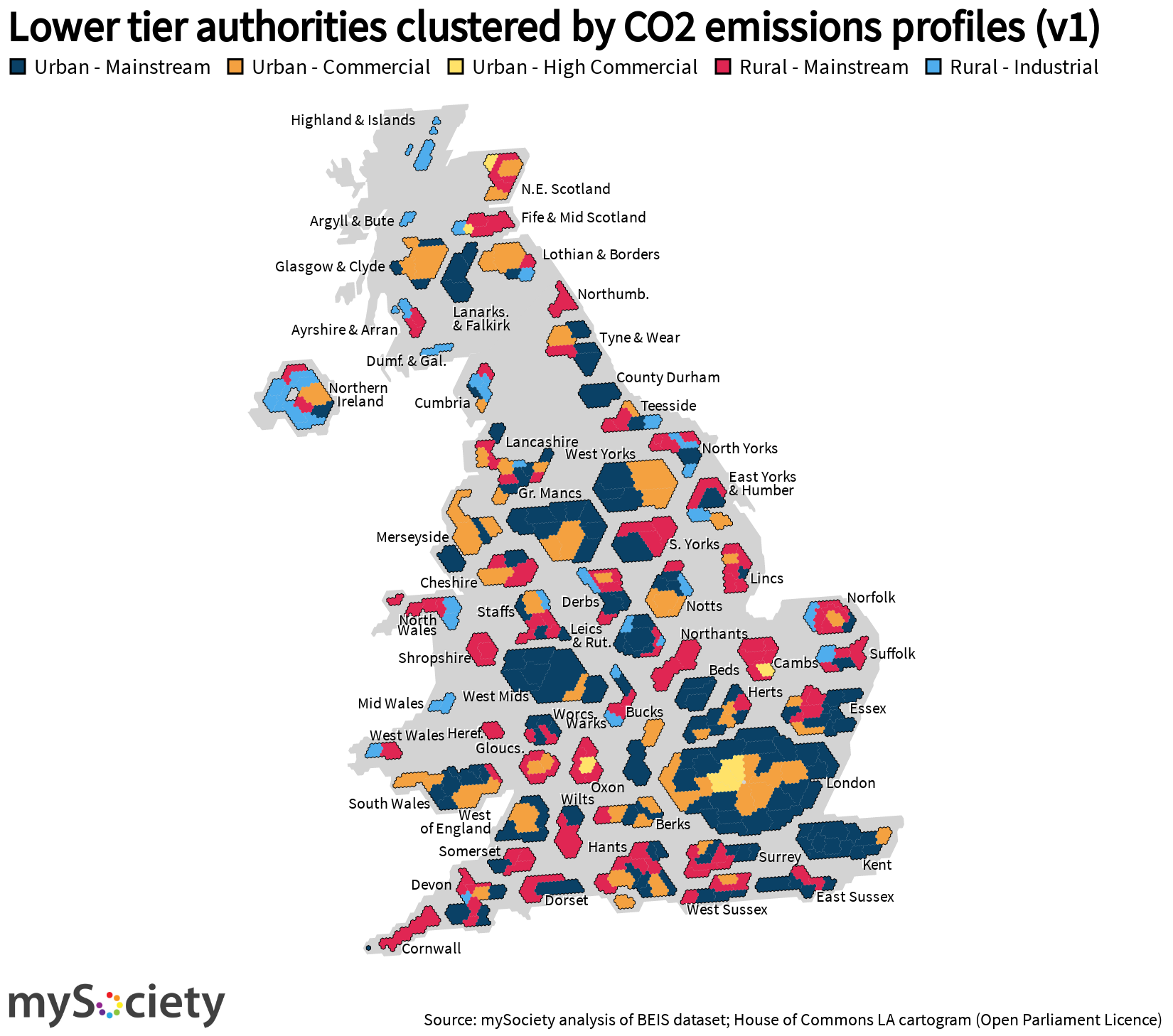 Map of different labelled clusters of Emissions profiles in the UK
