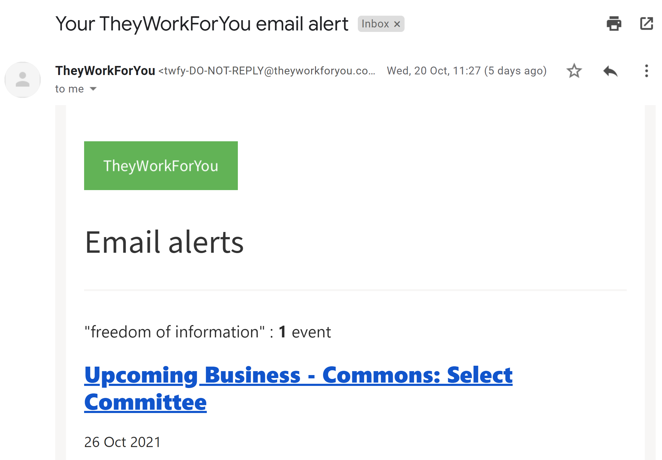 Screenshot of a TheyWorkForYou alert email, showing results for the term 'FOI'