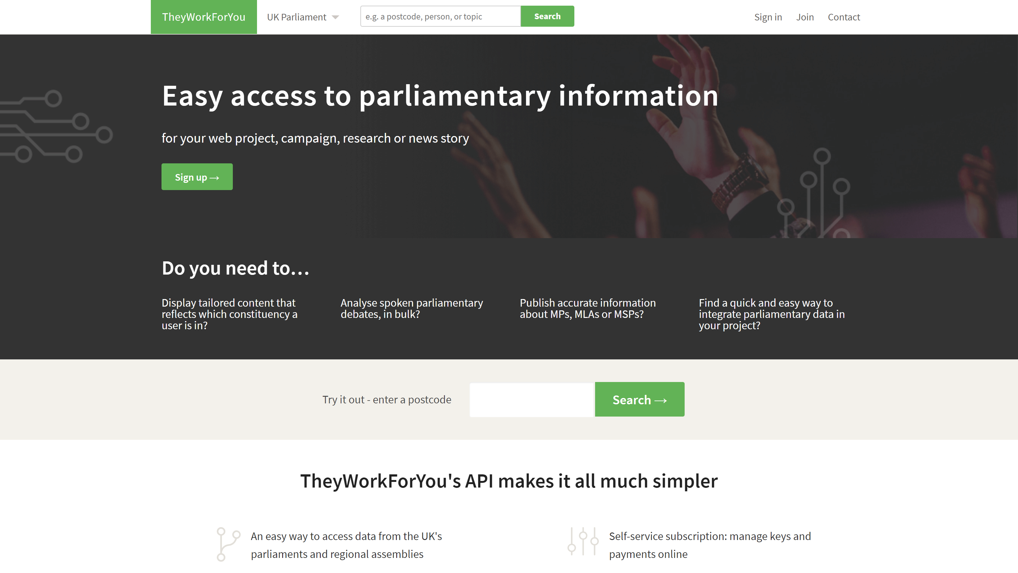 The TheyWorkForYou API, homepage