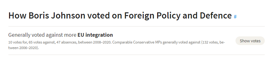 A screenshot of Boris Johson's voting record, showing his position on EU integration is aligned with his party.